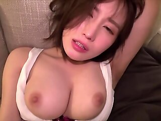 pov , brunette , creampie , japanese , asian , big tits